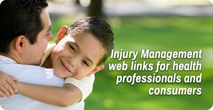 Injury Management web links for health professionals and consumers